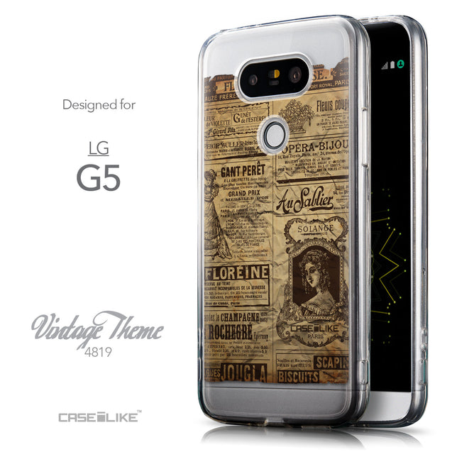 Front & Side View - CASEiLIKE LG G5 back cover Vintage Newspaper Advertising 4819