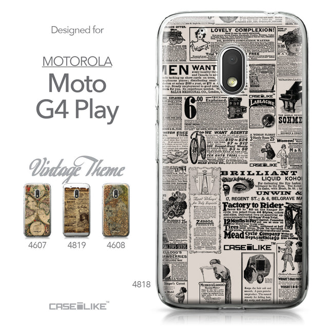 Motorola Moto G4 Play case Vintage Newspaper Advertising 4818 Collection | CASEiLIKE.com
