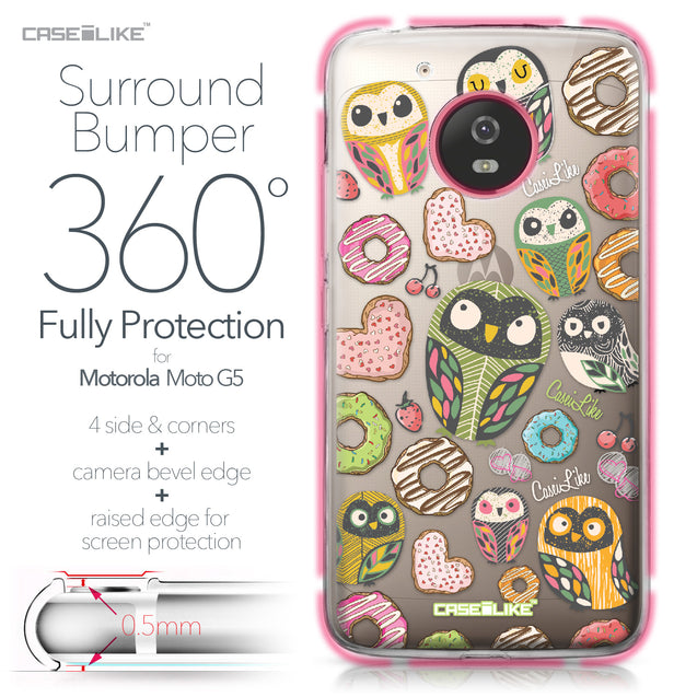 Motorola Moto G5 case Owl Graphic Design 3315 Bumper Case Protection | CASEiLIKE.com
