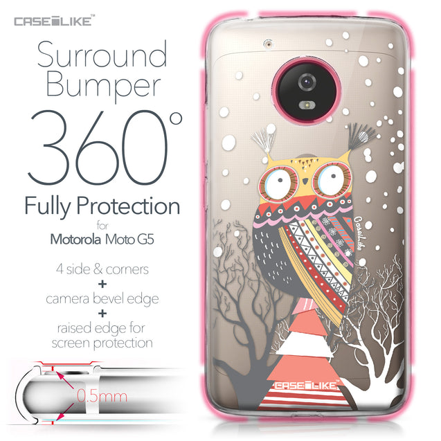 Motorola Moto G5 case Owl Graphic Design 3317 Bumper Case Protection | CASEiLIKE.com