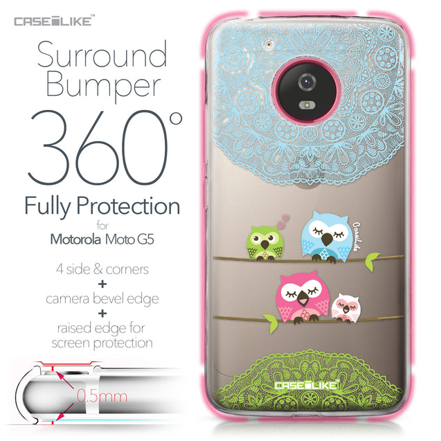 Motorola Moto G5 case Owl Graphic Design 3318 Bumper Case Protection | CASEiLIKE.com
