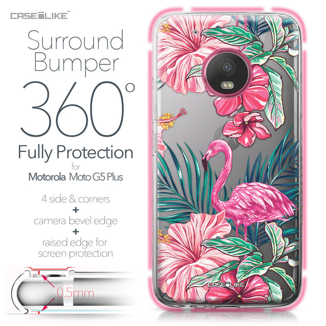 Motorola Moto G5 Plus case Tropical Flamingo 2239 Bumper Case Protection | CASEiLIKE.com