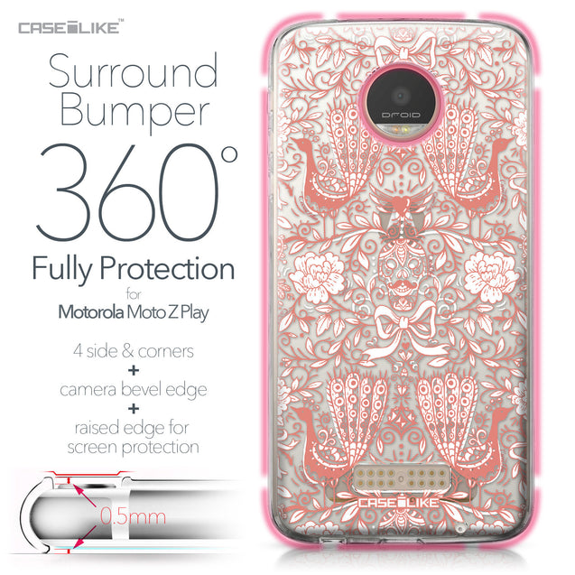 Motorola Moto Z Play case Roses Ornamental Skulls Peacocks 2237 Bumper Case Protection | CASEiLIKE.com