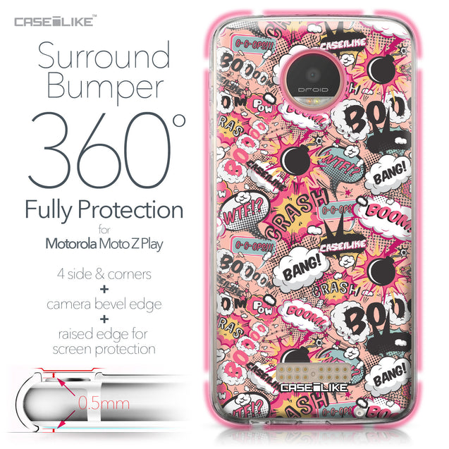 Motorola Moto Z Play case Comic Captions Pink 2912 Bumper Case Protection | CASEiLIKE.com