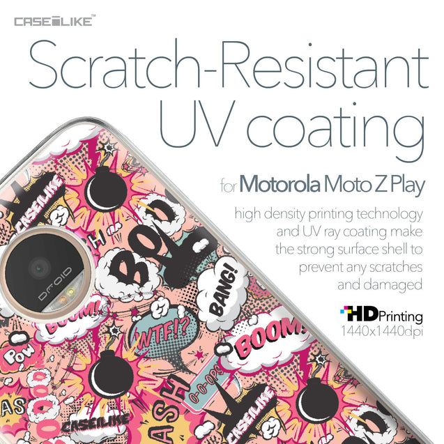 Motorola Moto Z Play case Comic Captions Pink 2912 with UV-Coating Scratch-Resistant Case | CASEiLIKE.com