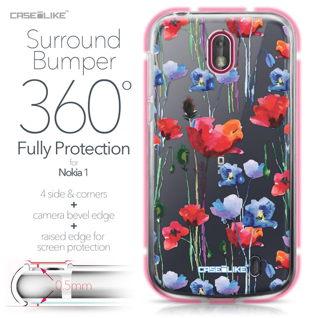 Nokia 1 case Watercolor Floral 2234 Bumper Case Protection | CASEiLIKE.com