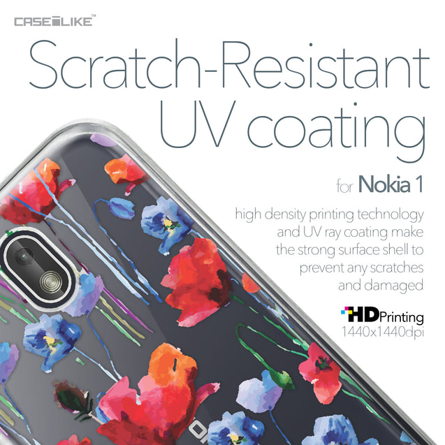 Nokia 1 case Watercolor Floral 2234 with UV-Coating Scratch-Resistant Case | CASEiLIKE.com