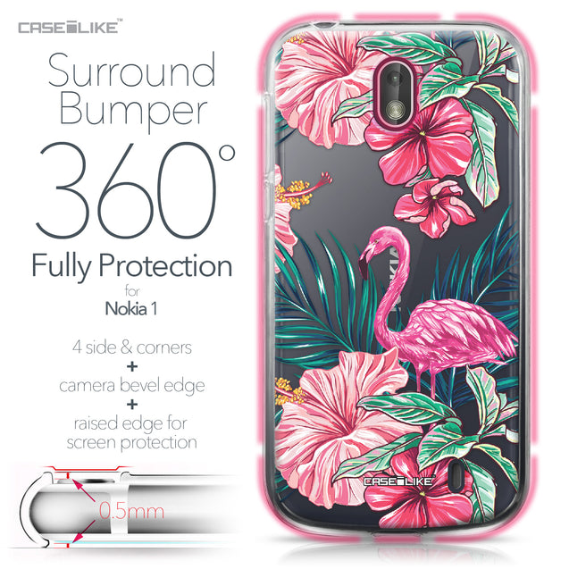 Nokia 1 case Tropical Flamingo 2239 Bumper Case Protection | CASEiLIKE.com