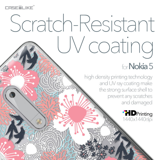 Nokia 5 case Japanese Floral 2255 with UV-Coating Scratch-Resistant Case | CASEiLIKE.com