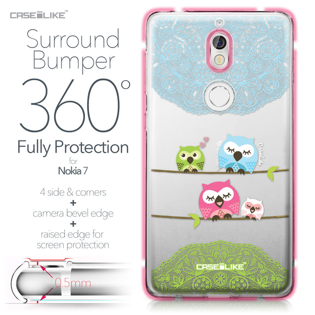 Nokia 7 case Owl Graphic Design 3318 Bumper Case Protection | CASEiLIKE.com