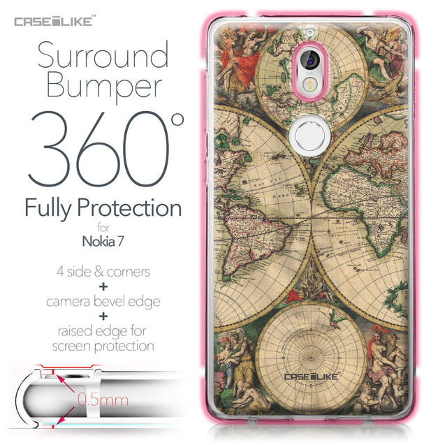 Nokia 7 case World Map Vintage 4607 Bumper Case Protection | CASEiLIKE.com