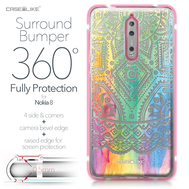 Nokia 8 case Indian Line Art 2064 Bumper Case Protection | CASEiLIKE.com