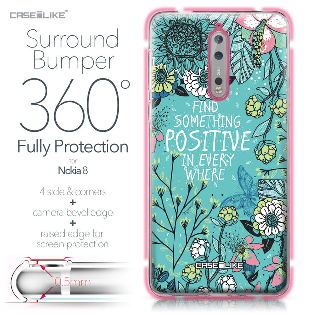 Nokia 8 case Blooming Flowers Turquoise 2249 Bumper Case Protection | CASEiLIKE.com