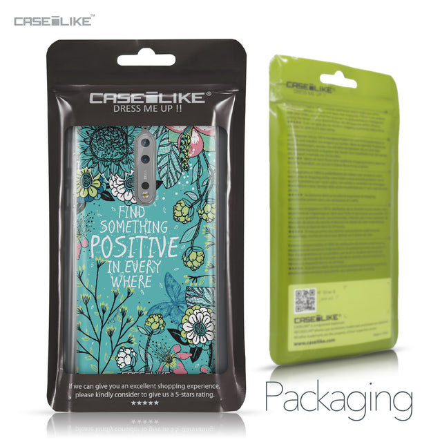 Nokia 8 case Blooming Flowers Turquoise 2249 Retail Packaging | CASEiLIKE.com