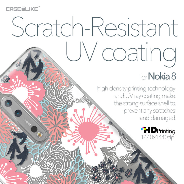 Nokia 8 case Japanese Floral 2255 with UV-Coating Scratch-Resistant Case | CASEiLIKE.com