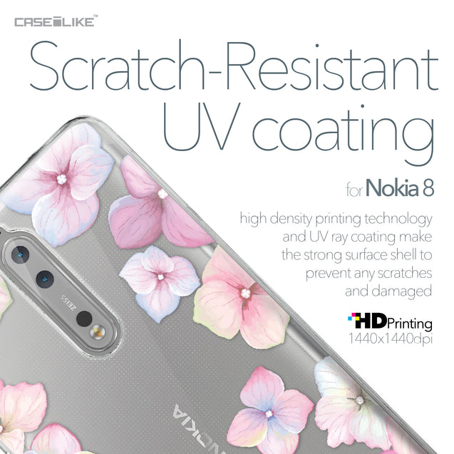 Nokia 8 case Hydrangea 2257 with UV-Coating Scratch-Resistant Case | CASEiLIKE.com
