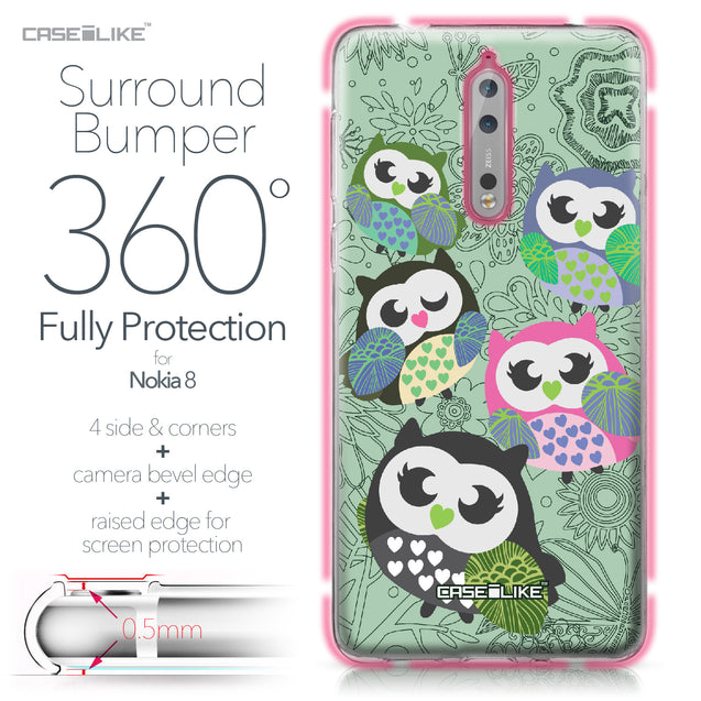 Nokia 8 case Owl Graphic Design 3313 Bumper Case Protection | CASEiLIKE.com