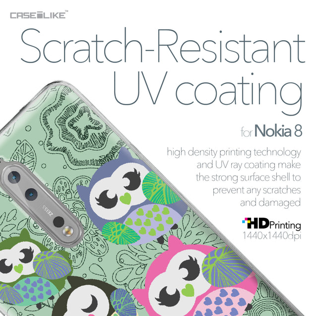 Nokia 8 case Owl Graphic Design 3313 with UV-Coating Scratch-Resistant Case | CASEiLIKE.com