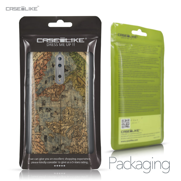 Nokia 8 case World Map Vintage 4608 Retail Packaging | CASEiLIKE.com