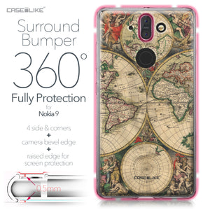 Nokia 9 case World Map Vintage 4607 Bumper Case Protection | CASEiLIKE.com