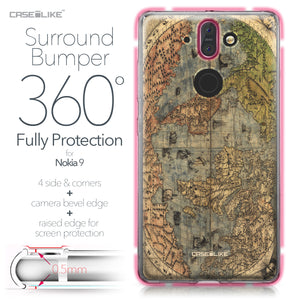 Nokia 9 case World Map Vintage 4608 Bumper Case Protection | CASEiLIKE.com