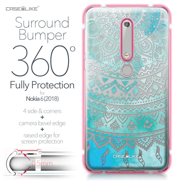 Nokia 6 (2018) case Indian Line Art 2066 Bumper Case Protection | CASEiLIKE.com