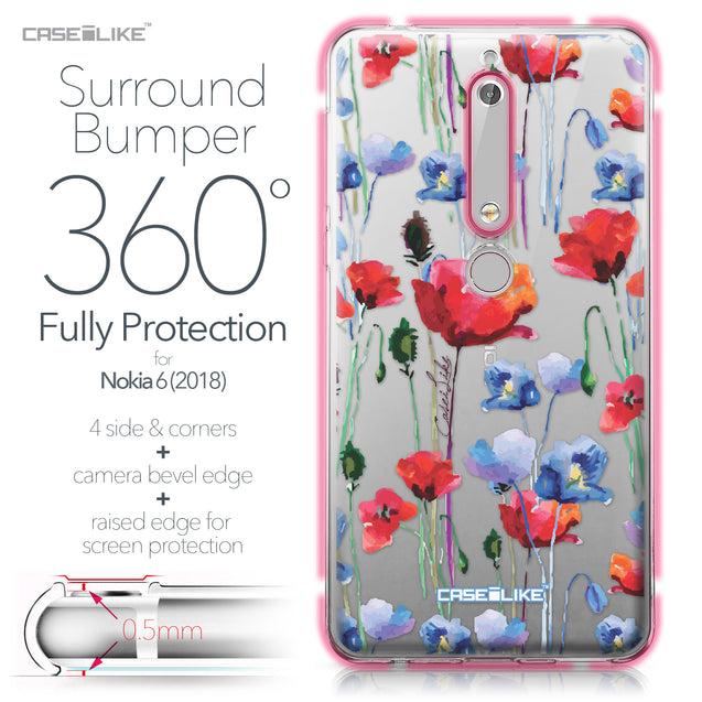 Nokia 6 (2018) case Watercolor Floral 2234 Bumper Case Protection | CASEiLIKE.com