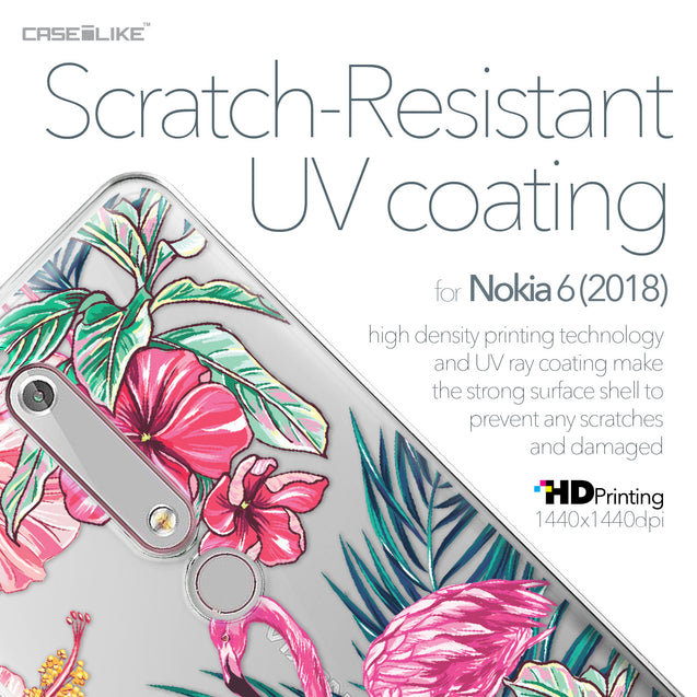 Nokia 6 (2018) case Tropical Flamingo 2239 with UV-Coating Scratch-Resistant Case | CASEiLIKE.com