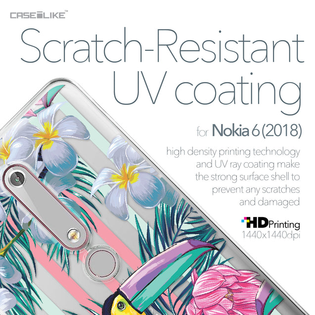 Nokia 6 (2018) case Tropical Floral 2240 with UV-Coating Scratch-Resistant Case | CASEiLIKE.com