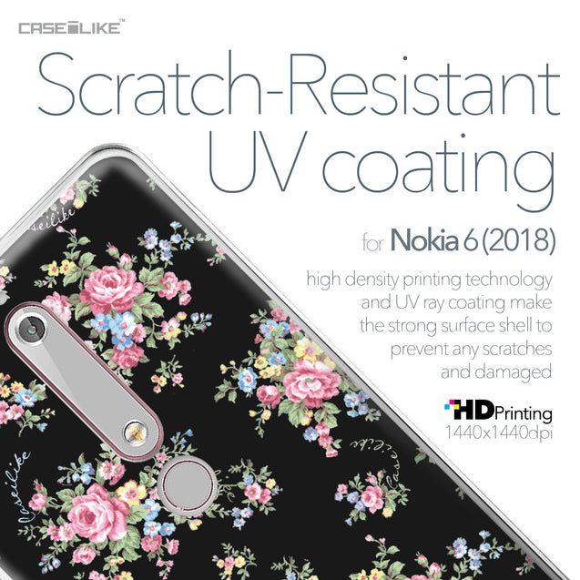 Nokia 6 (2018) case Floral Rose Classic 2261 with UV-Coating Scratch-Resistant Case | CASEiLIKE.com