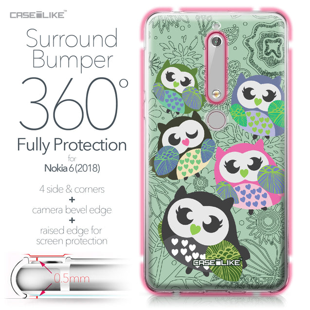 Nokia 6 (2018) case Owl Graphic Design 3313 Bumper Case Protection | CASEiLIKE.com