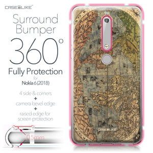Nokia 6 (2018) case World Map Vintage 4608 Bumper Case Protection | CASEiLIKE.com