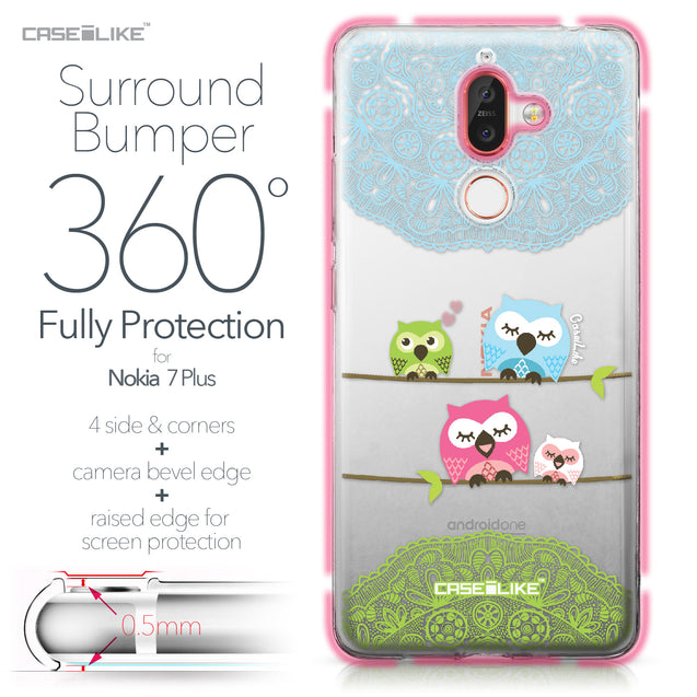 Nokia 7 Plus case Owl Graphic Design 3318 Bumper Case Protection | CASEiLIKE.com
