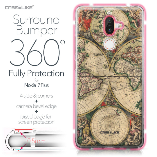 Nokia 7 Plus case World Map Vintage 4607 Bumper Case Protection | CASEiLIKE.com