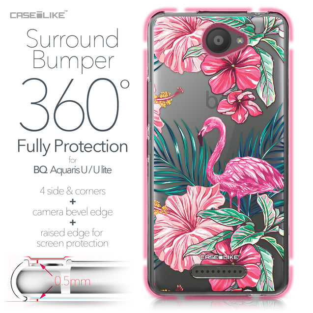 BQ Aquaris U / U Lite case Tropical Flamingo 2239 Bumper Case Protection | CASEiLIKE.com