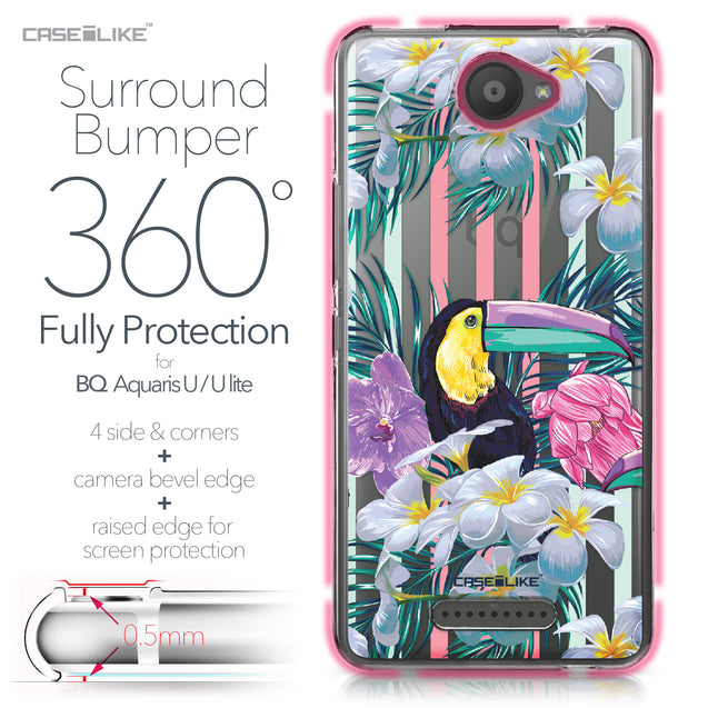 BQ Aquaris U / U Lite case Tropical Floral 2240 Bumper Case Protection | CASEiLIKE.com