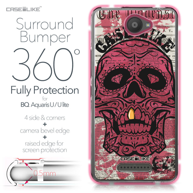 BQ Aquaris U / U Lite case Art of Skull 2523 Bumper Case Protection | CASEiLIKE.com