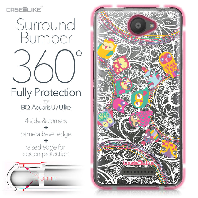 BQ Aquaris U / U Lite case Owl Graphic Design 3316 Bumper Case Protection | CASEiLIKE.com