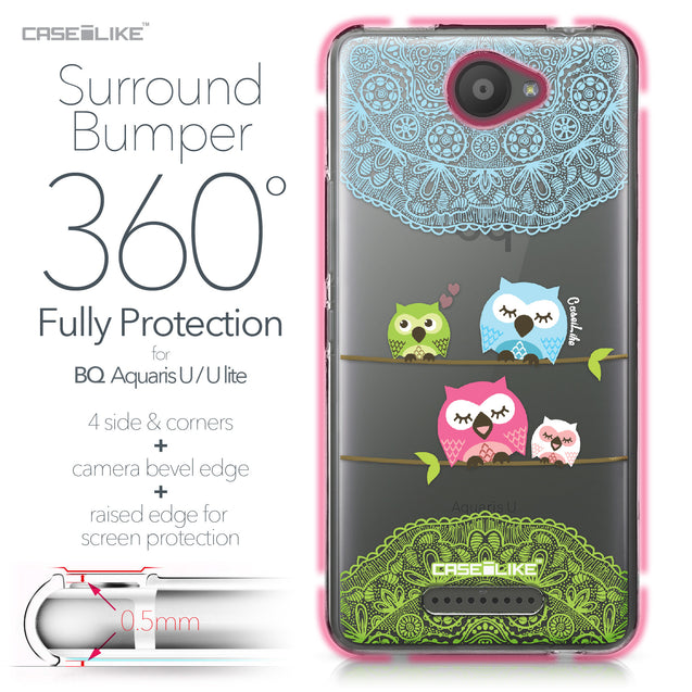 BQ Aquaris U / U Lite case Owl Graphic Design 3318 Bumper Case Protection | CASEiLIKE.com