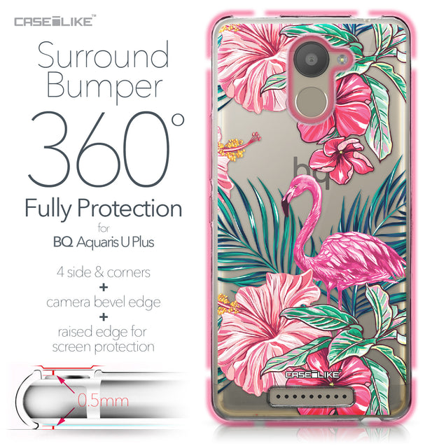 BQ Aquaris U Plus case Tropical Flamingo 2239 Bumper Case Protection | CASEiLIKE.com