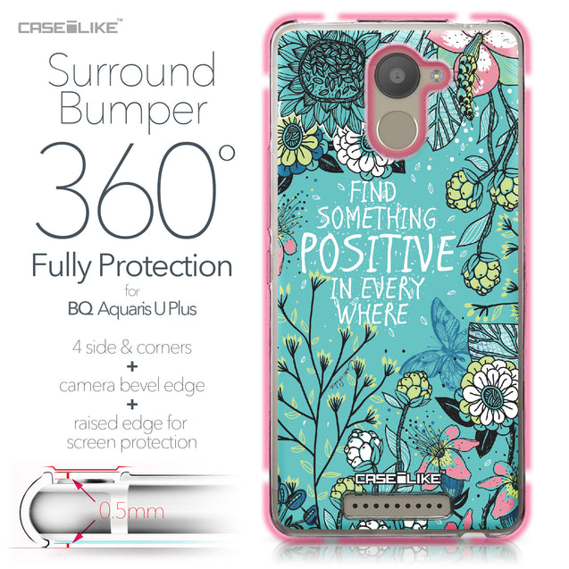 BQ Aquaris U Plus case Blooming Flowers Turquoise 2249 Bumper Case Protection | CASEiLIKE.com