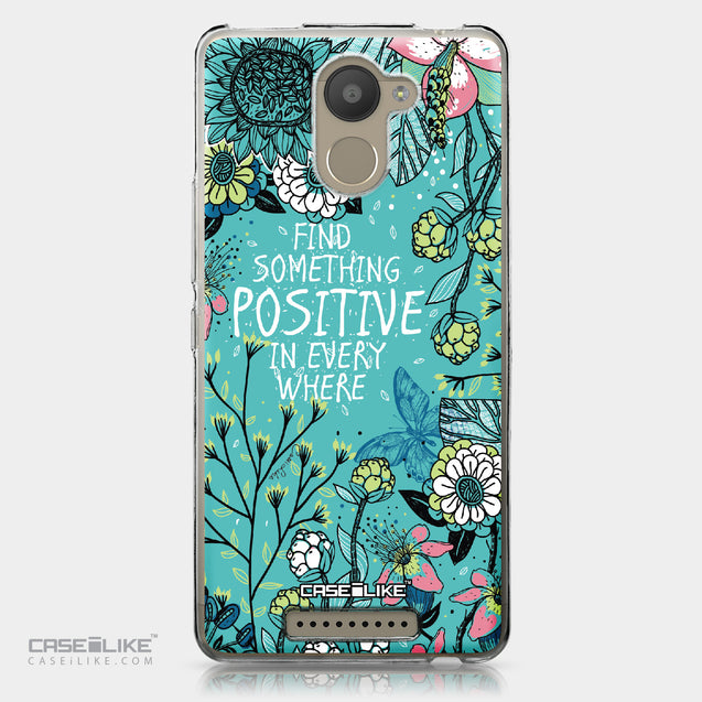BQ Aquaris U Plus case Blooming Flowers Turquoise 2249 | CASEiLIKE.com