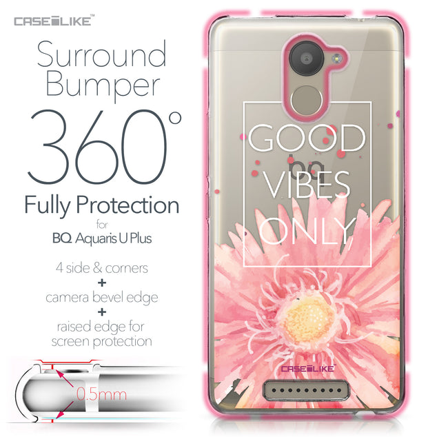 BQ Aquaris U Plus case Gerbera 2258 Bumper Case Protection | CASEiLIKE.com