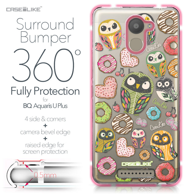 BQ Aquaris U Plus case Owl Graphic Design 3315 Bumper Case Protection | CASEiLIKE.com