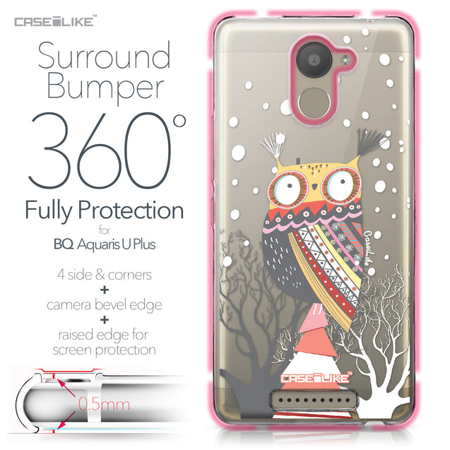 BQ Aquaris U Plus case Owl Graphic Design 3317 Bumper Case Protection | CASEiLIKE.com