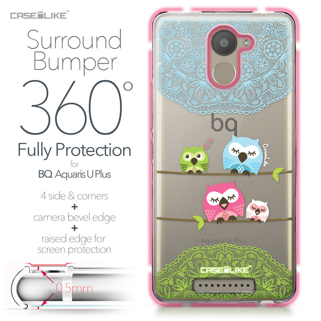 BQ Aquaris U Plus case Owl Graphic Design 3318 Bumper Case Protection | CASEiLIKE.com