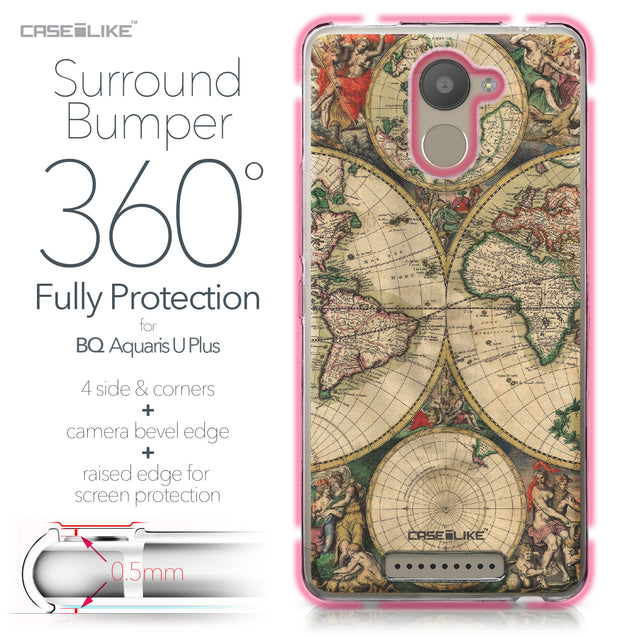 BQ Aquaris U Plus case World Map Vintage 4607 Bumper Case Protection | CASEiLIKE.com