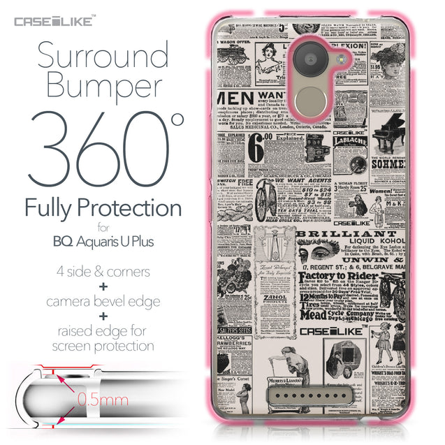 BQ Aquaris U Plus case Vintage Newspaper Advertising 4818 Bumper Case Protection | CASEiLIKE.com