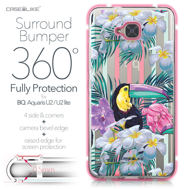 BQ Aquaris U2 / U2 Lite case Tropical Floral 2240 Bumper Case Protection | CASEiLIKE.com