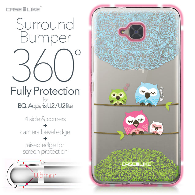 BQ Aquaris U2 / U2 Lite case Owl Graphic Design 3318 Bumper Case Protection | CASEiLIKE.com